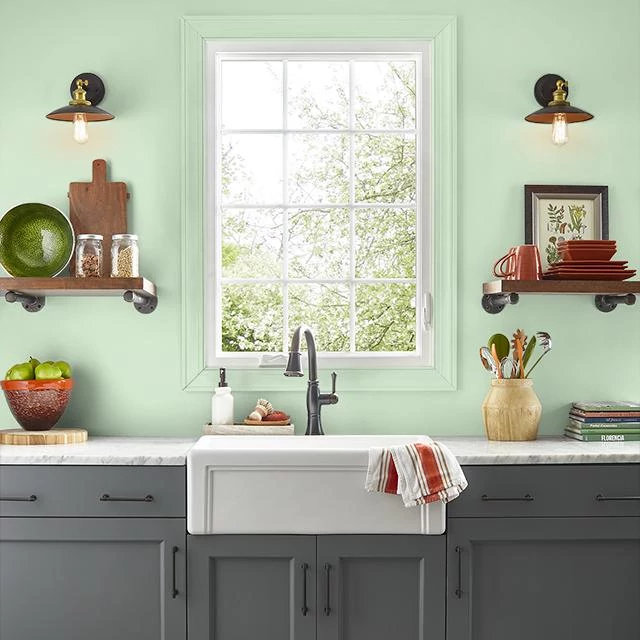 Kitchen painted in BUDDING GREEN