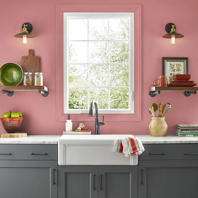 Kitchen painted in WATERMELON CRUSH