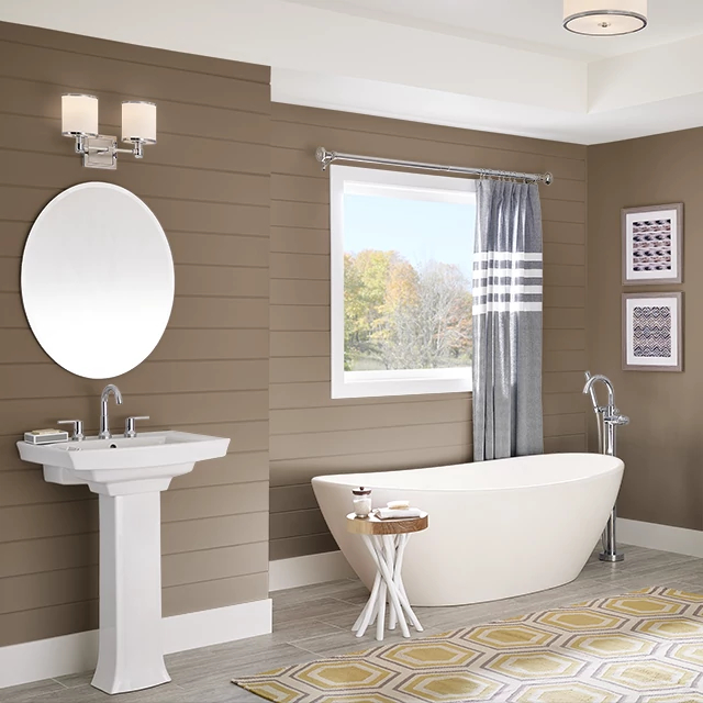 Bathroom painted in LEATHER SADDLE