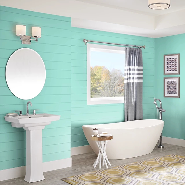 Bathroom painted in POLISHED TURQUOISE