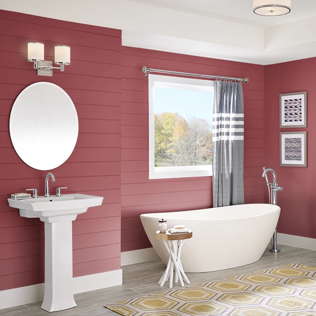 Bathroom painted in RADIANT RASPBERRY