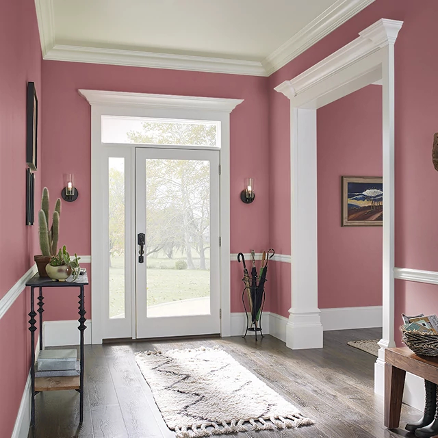 Foyer painted in EARTHY RED