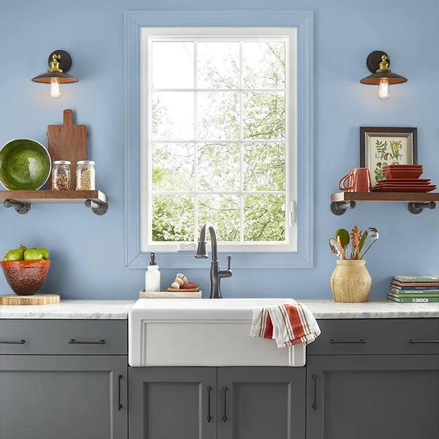 Kitchen painted in BLUE BALLAD