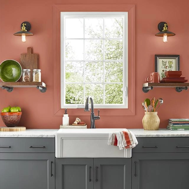 Kitchen painted in SCORCHING HOT