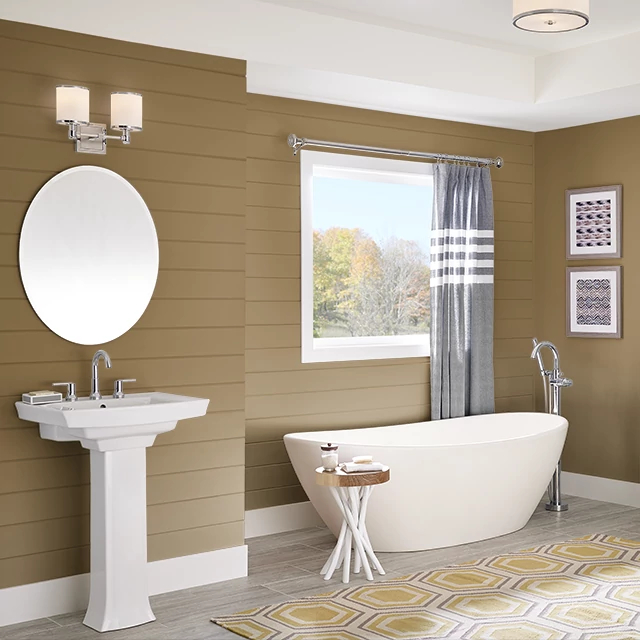 Bathroom painted in TEA AND HONEY