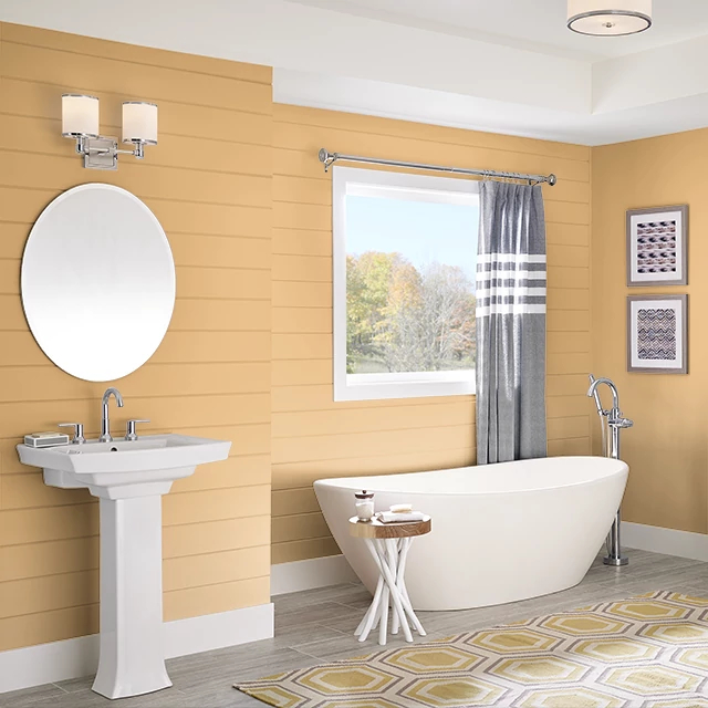 Bathroom painted in POMMERY MUSTARD