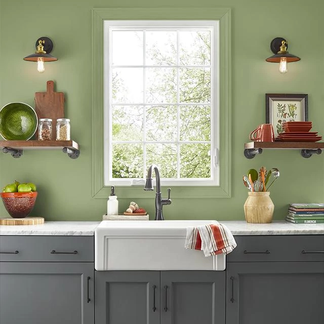 Kitchen painted in FRESH MOSS