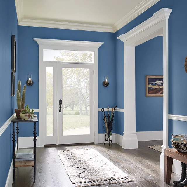 Foyer painted in LUXURIOUS BLUE