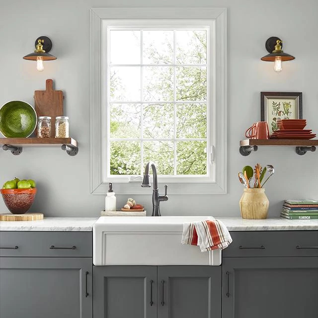 Kitchen painted in STREAMLINED SILVER