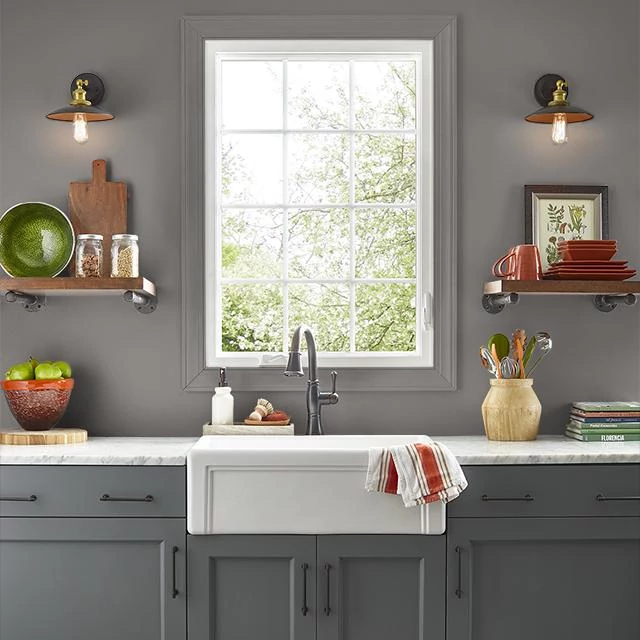 Kitchen painted in GRAPHIC GRAY