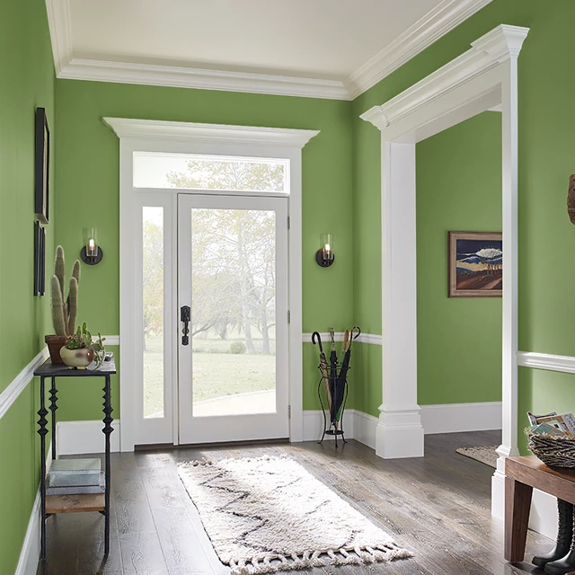 Foyer painted in EMERALD SHIMMER