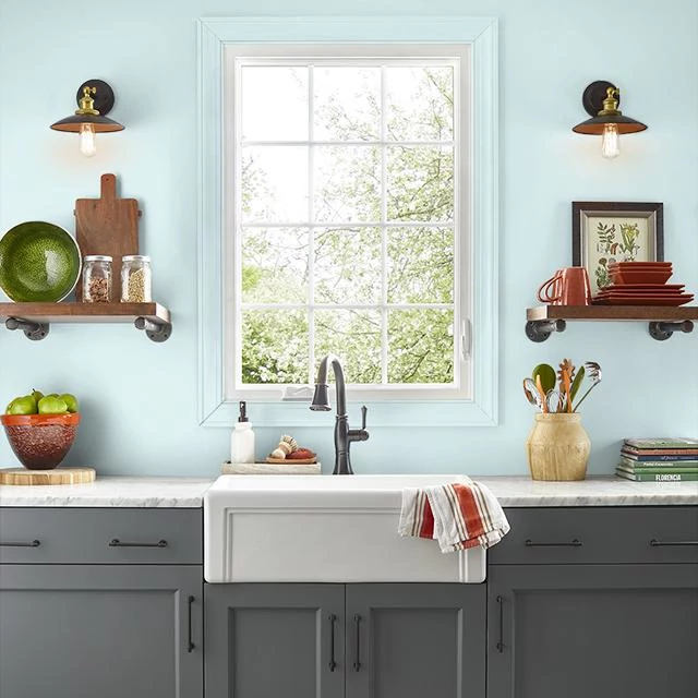 Kitchen painted in PROUD CLOUD