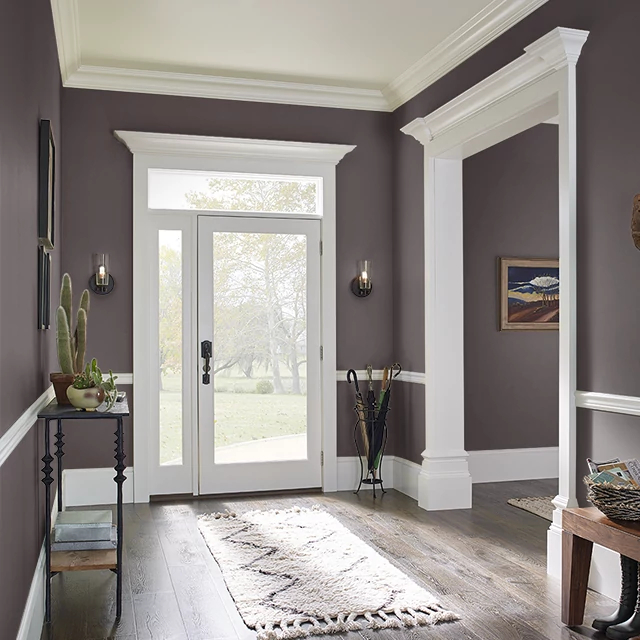 Foyer painted in BLACK CHERRY