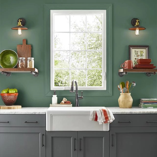 Kitchen painted in TROPICAL FOLIAGE