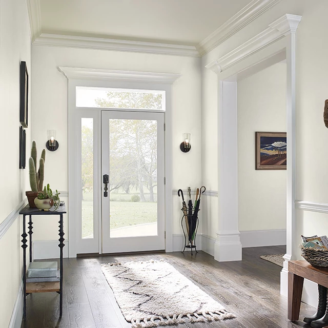 Foyer painted in SWISS COFFEE