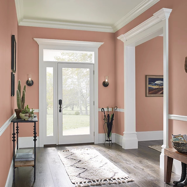Foyer painted in BAKED CINNAMON