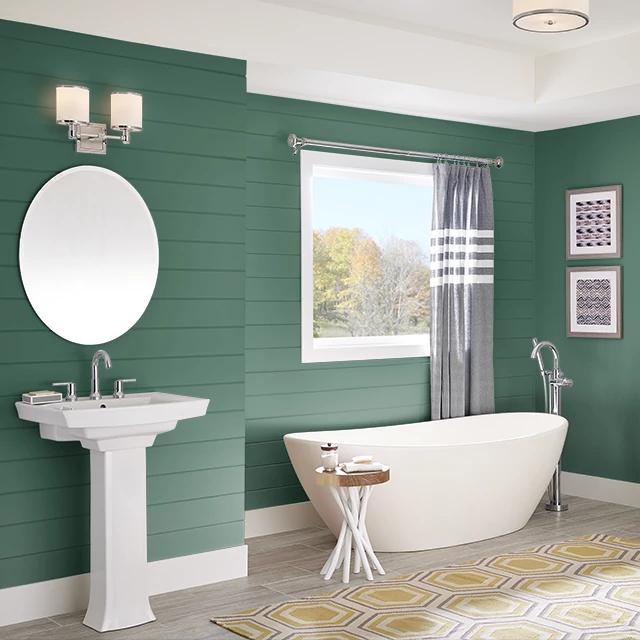 Bathroom painted in SERRANO PEPPER