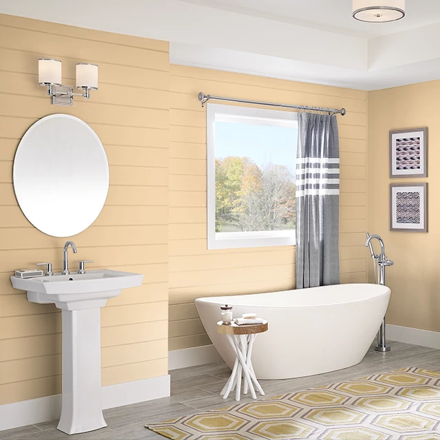Bathroom painted in COTTAGE YELLOW