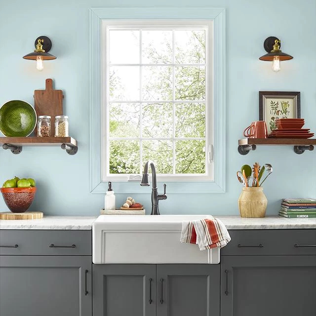Kitchen painted in SUBTLE BREEZE