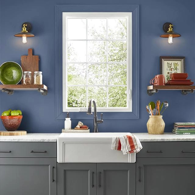 Kitchen painted in BLUE UNIFORM