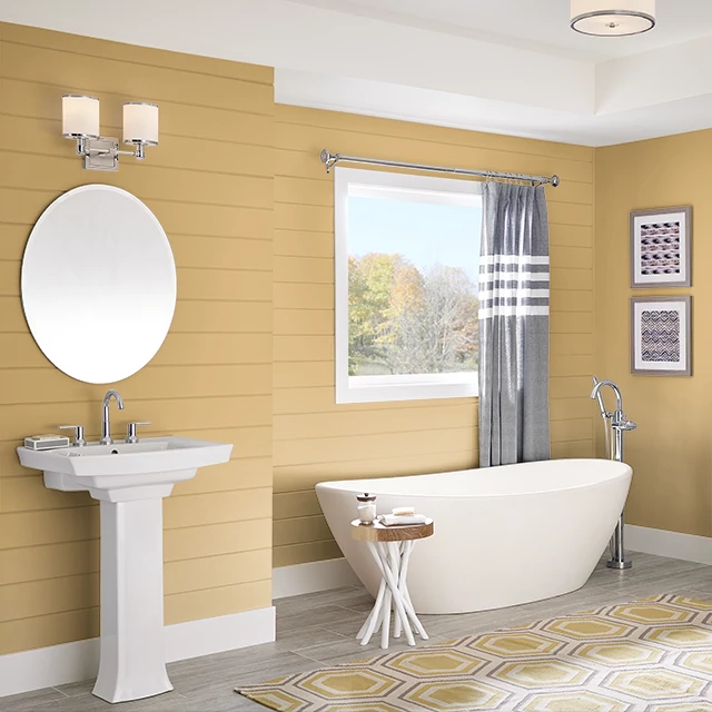 Bathroom painted in BRASS CHARM