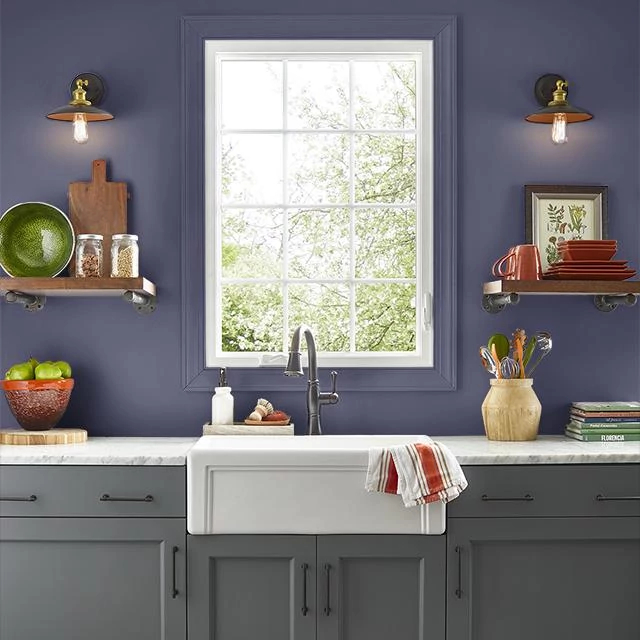Kitchen painted in BLUE GALAXY