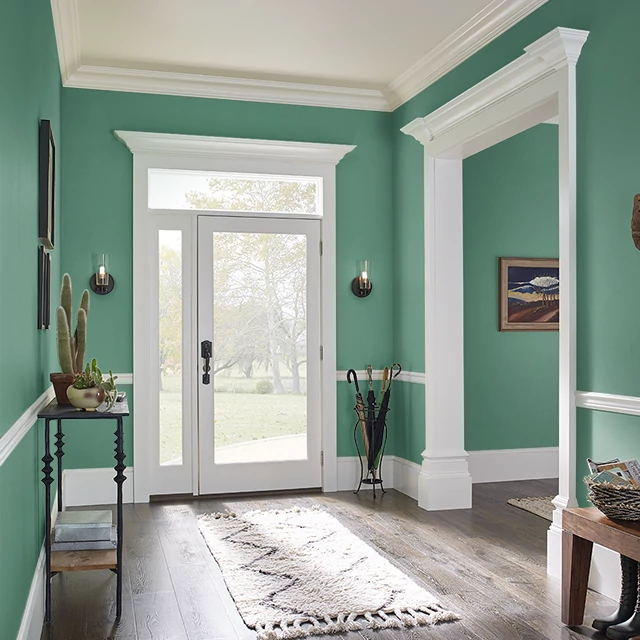 Foyer painted in FOREST FOUND