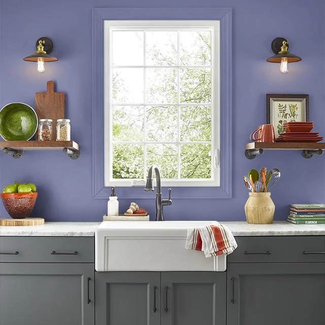 Kitchen painted in BLUEBERRY SAUCE