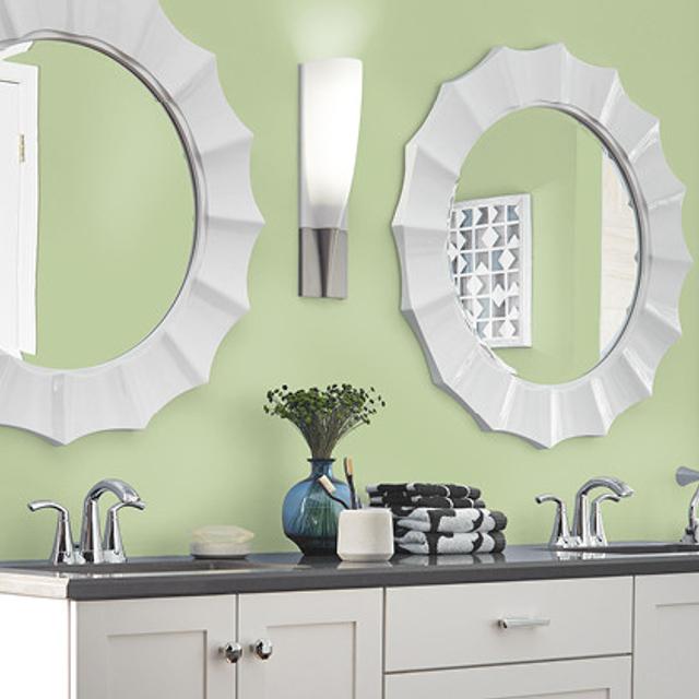 Bathroom painted in SUBTLE CELERY