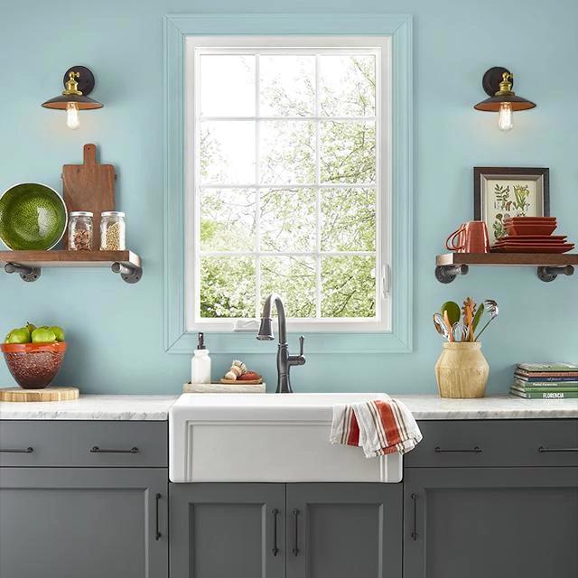 Kitchen painted in WIND BLOWN