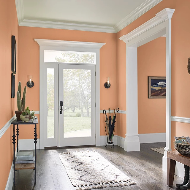 Foyer painted in SPICED ORANGE