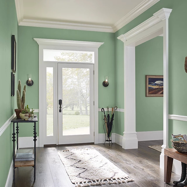 Foyer painted in WILD THYME