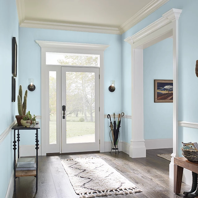 Foyer painted in MISTY BLUE