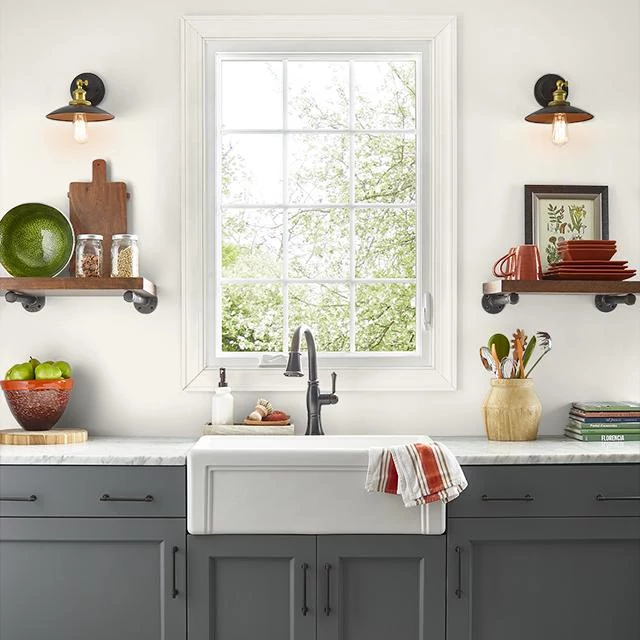Kitchen painted in SHAVED COCONUT