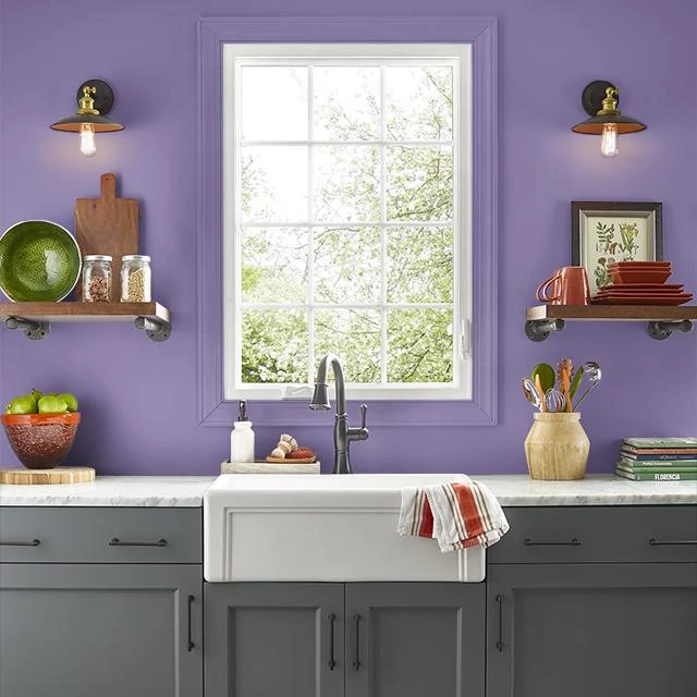 Kitchen painted in MYSTICAL PURPLE