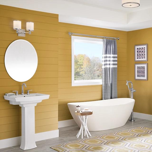 Bathroom painted in OCTOBER LEAF