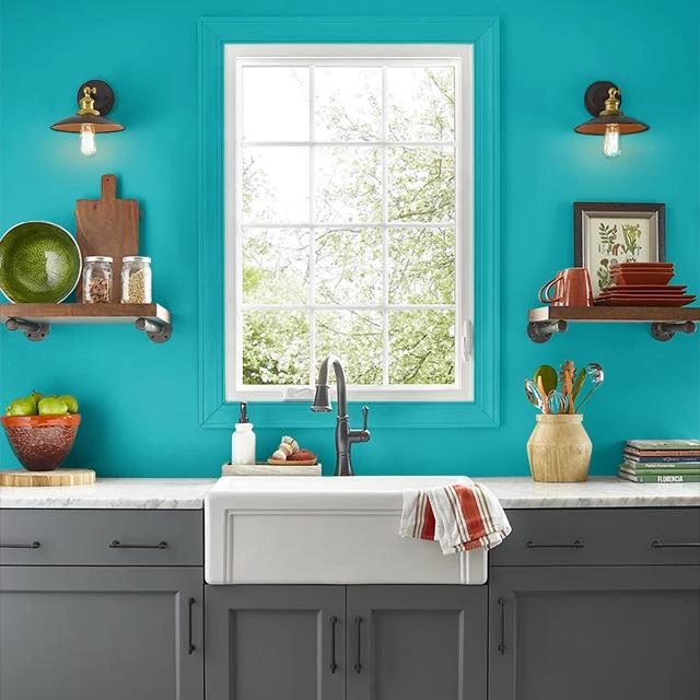 Kitchen painted in TROPICAL TWIST