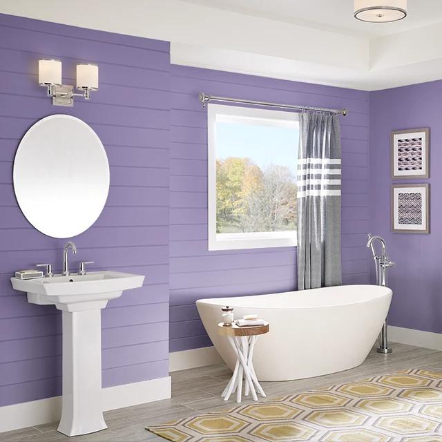Bathroom painted in BELLADONA