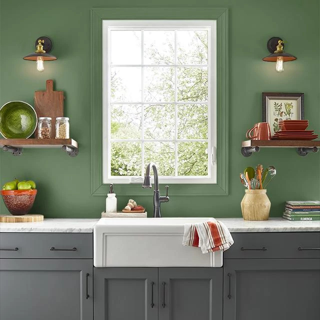 Kitchen painted in FLOWER LEAF