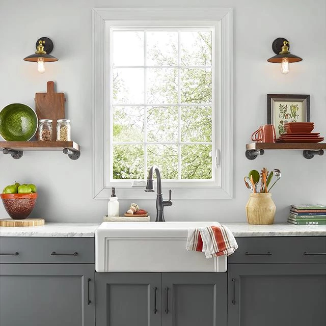 Kitchen painted in CHALK GRAY