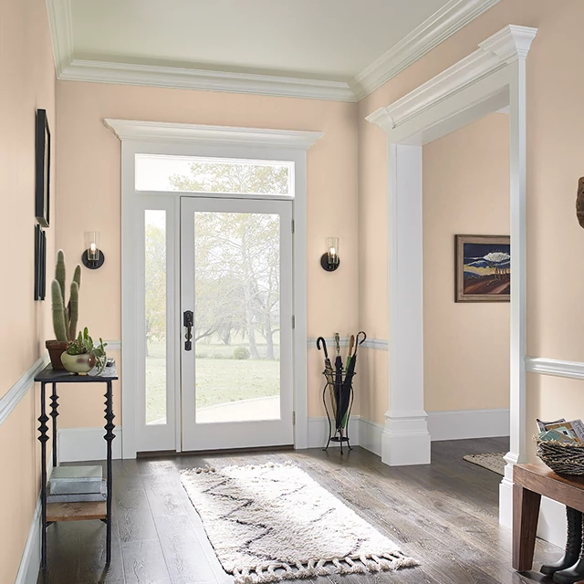 Foyer painted in RIPE APRICOT