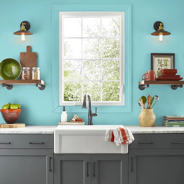 Kitchen painted in CLASSIC TURQUOISE