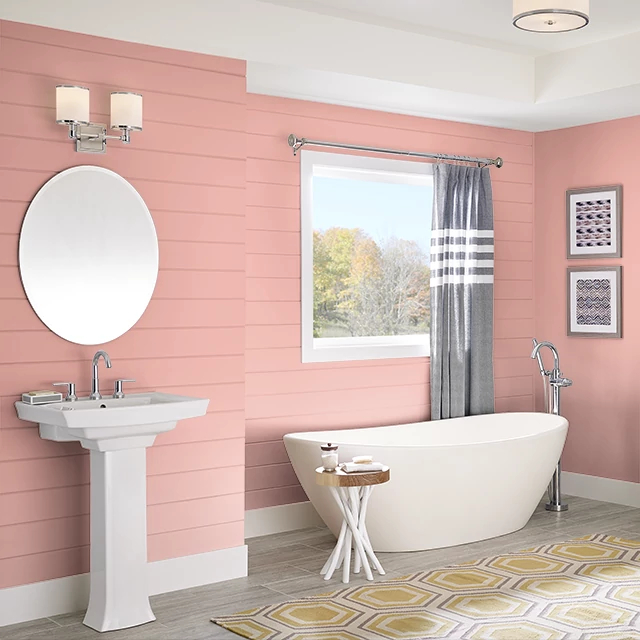 Bathroom painted in CORAL MYTH