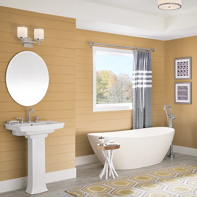 Bathroom painted in AZTEC YELLOW