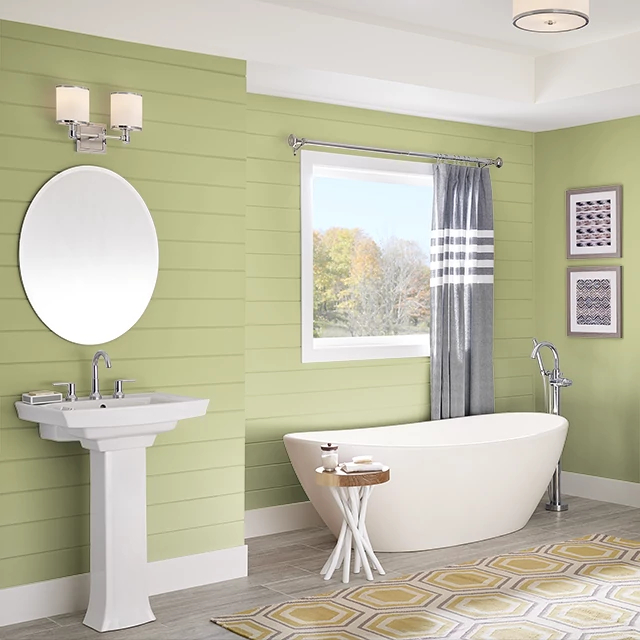Bathroom painted in BURNISHED GREEN