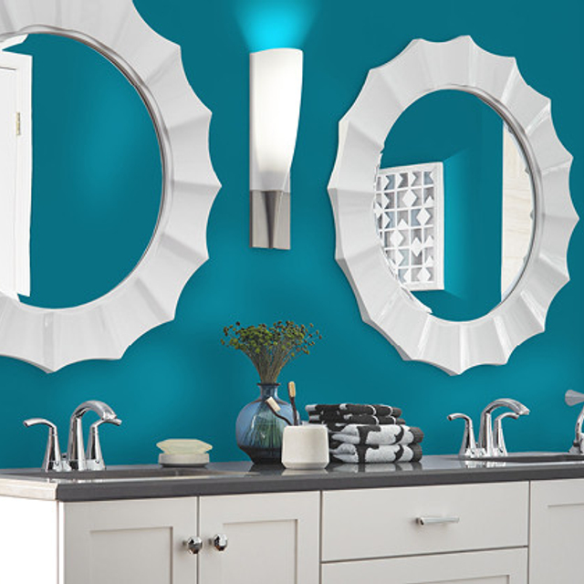 Bathroom painted in TRUE TEAL