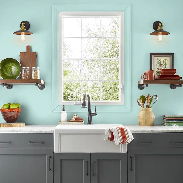 Kitchen painted in VINTAGE AQUA