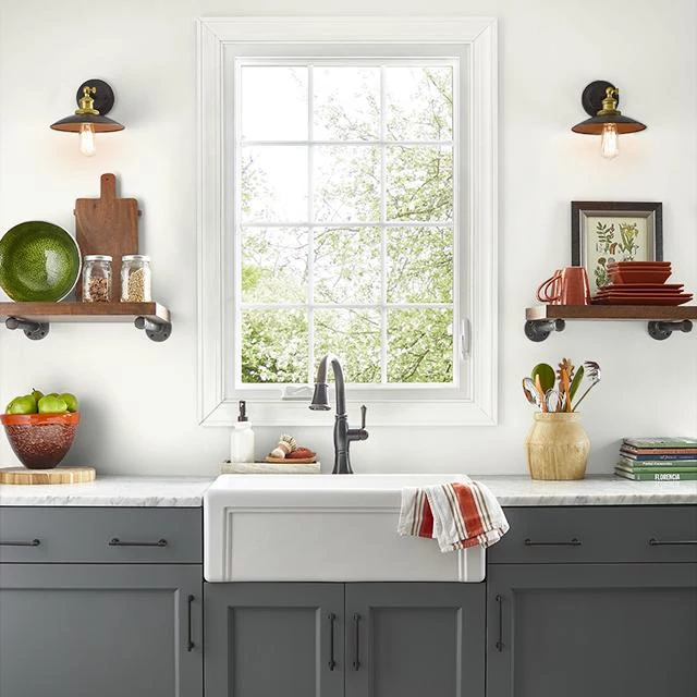 Kitchen painted in WHITE WING