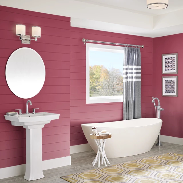 Bathroom painted in BRIGHT ORCHID