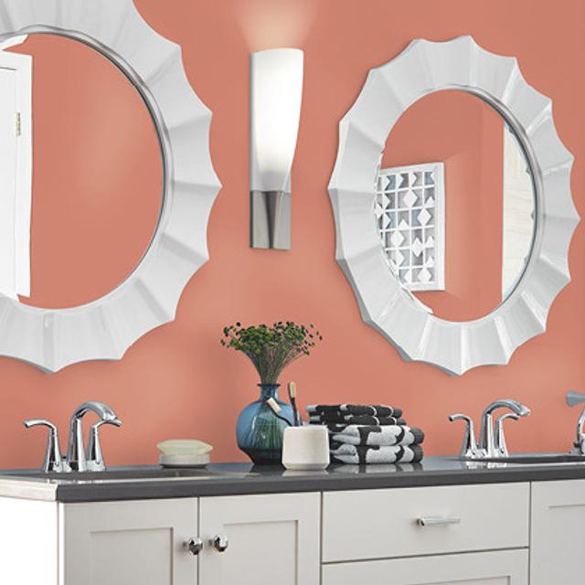 Bathroom painted in BAKED TERRA COTTA